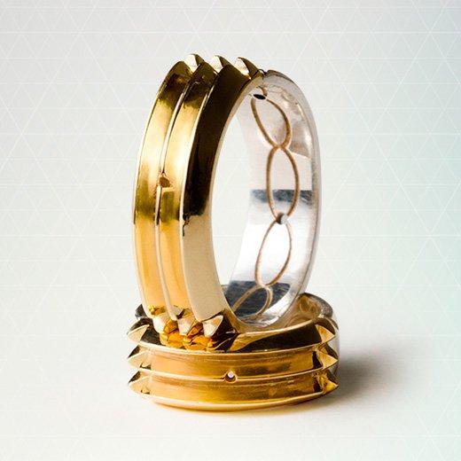 Anel Atlante Original em Ouro e Prata